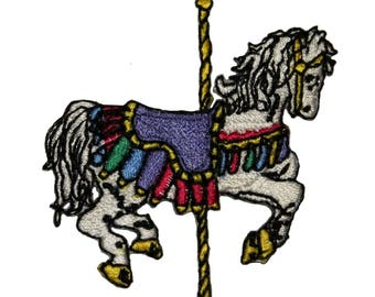 ID 1004 Carousel Show Horse Patch Carnival Ride Embroidered Iron On Applique