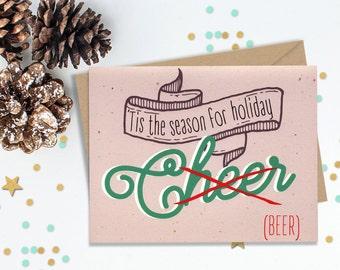 Tis the season, 10 Holiday Card Set, Funny Greeting Cards, Blank Card Set, Seasons Greetings, Beer Lovers, Holiday Cards, Funny Holiday Set