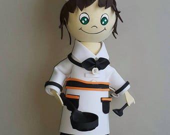 Cheffy Naughty chef  - Handmade Fofucha Dolls, Girl doll, Gift love doll