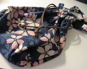 "Pink Sakura Japanese Fabric Drawstring Tote Bag, 10"" x 9"""