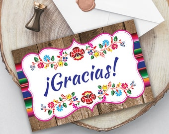 Fiesta Gracias Printable Card, Instant Download, Fiesta Stationery, Fiesta Note Card, Mexican Gracias Card, Spanish Gracias Card, 4x6 Card
