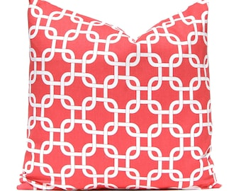 Coral Pillow Covers - 18 x 18 Pillow Covers - Coral and White - Coral Chevron Pillow Cover - Coral Cushion Cover - Chain Link Pattern