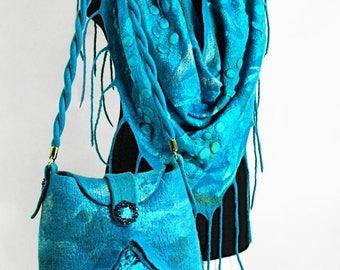 """Eco Set """"Turquoise"""" (felted boho eco-friendly handmade sets buy)"""
