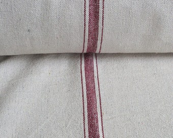 Grain Sack Fabric by the Yard - Five Stripes Red