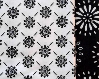 SALE - Black/White Floral Fabric Set  - 1 yd of each, 1/2 yd of each, 1/4 yd of each, and Fat Qtrs of each                   07/2017