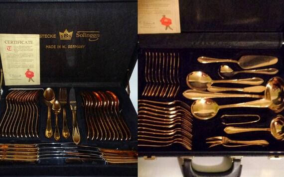 Vintage SBS BESTECKE SOLINGEN Art Deco 23/24k Gold Plated