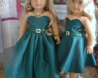 Green Taffeta Party Dress in Two Dress Lengths, With Shoes and Jewelry, for American Girl Dolls