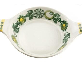 Vintage Scandinavian casserole -  Stavangerflint green and yellow floral - Norway