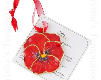 Red Real Pansy Ornament - Christmas Gifts - Secret Santa - Christmas Ornaments - Presents - Just Because - Mom