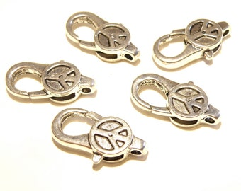 Five (5) Large and Sturdy Pewter Silver Peace Sign Lobster Claw Clasps