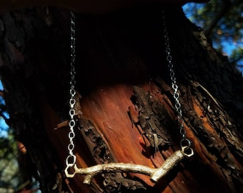 Pacific Madrone Twig Hexagon Bar Necklace - Northern California Mixed Metal Forest Art Jewelry