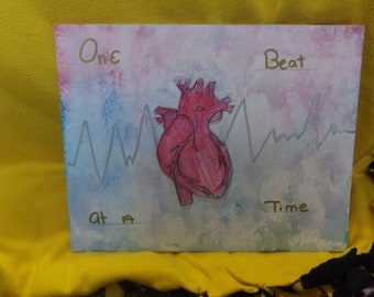 One beat at a time! | Watercolor | Texture| Heart painting!
