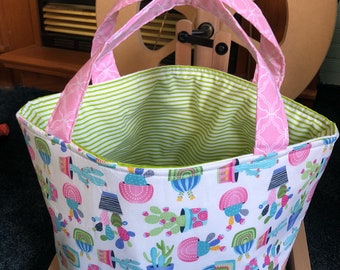 Sweater Bucket, Extra Large Knitting Bag, Yarn Storage Tote, Extra Large Drawstring Bag, Blanket Project Bag, Cactus Bag