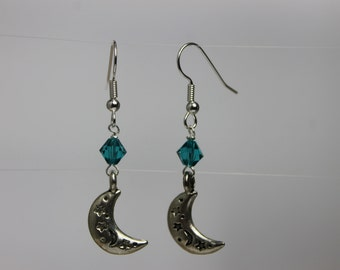 Crescent Moon and Stars Earrings