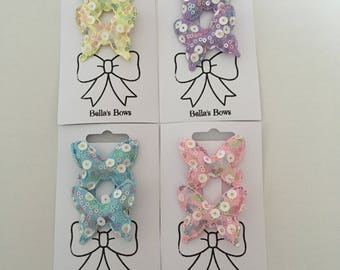 Sequin Pastel Butterfly Hair Clips