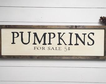 Pumpkins Farmhouse Fall Wooden sign