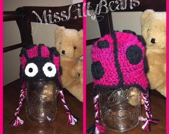 Newborn Crochet Ladybug Hat, Animal Hat, Photo Prop