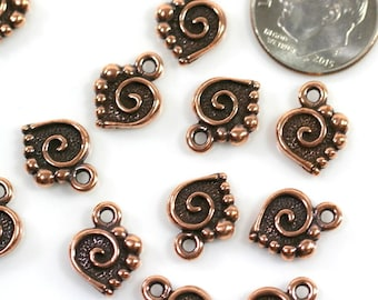 TierraCast Charms, Small Spiral Heart Charm, Jewelry Findings, Small Hearts, Antiqued Copper Plated Lead Free Pewter,........ 4 Pieces, 7418