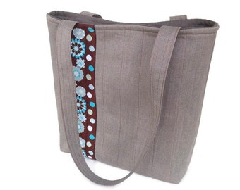 Womens fabric purse, Grey handbag, Taupe purse, Vegan bag, Flower handbag, Fabric handbags, Everyday tote bag, Vegan handbag, Shoulder bag