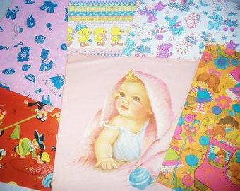 Vintage CHILDHOOD THEME Gift Wrap Paper Lot