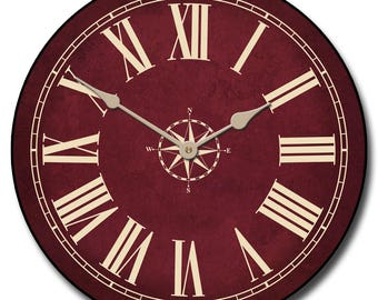 Nautical Burgundy Wall Clock