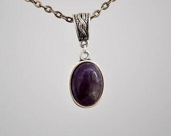 Amethyst antique silver pendant, Amethyst necklace, Amethyst pendant, Amethyst jewelry, Lavender amethyst pendant, Amethyst silver tone gift