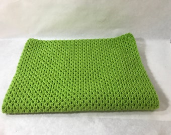 Lap Blanket, Office chair throw, Wheelchair lap cover, Couch throw, Crocheted, Lime Green color, Home decor