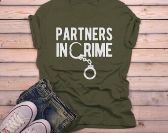 Men's Partners In Crime T Shirt Best Friends Shirt Matching Shirts Handcuffs Tee Gift Idea