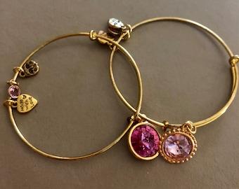 Expandable bracelet Swarovski crystal pink