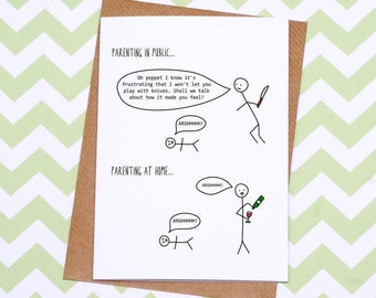 Parenting in Public Card - Hurrah For Gin Card - Funny Card - Mother's Day Card