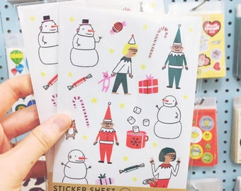 Holiday sticker sheet / Children's Holiday Sticker sheet