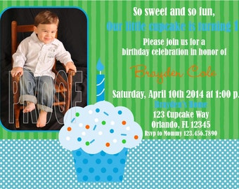 Boy Cupcake Photo Invitations