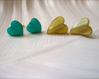 Earrings 2 Pairs Tiny Hearts Earrings. Teal Olive Gold Post Earrings. Green Heart Earrings and Heart Jewelry. Ladies Girls Fashion Gift Set.