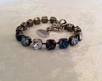 8mm swarovski crystal bracelet- navy blue- grey- crystal- holiday gift- denim jeans- crystal bracelet- bridesmaids gift