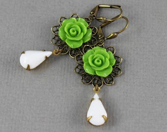 Chartreuse Green Rose - Victorian vintage style antique brass rose - Secret Garden Collection
