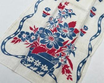 A Tisket a Tasket - a Blue and Red Floral Basket - Darling Vintage Linen Tea Towel