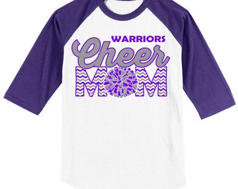 Personalized Cheer Mom T Shirt Raglan Your Choice of Print, Shirt Color, Team Name