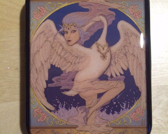 SALE!! Swan Maiden on Black Tobacco Tin
