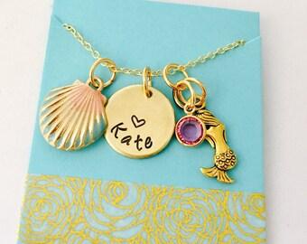 Mermaid Necklace, Mermaid Jewelry, Personalized Mermaid Necklace, Mermaid Name Necklace, Nautical Jewelry