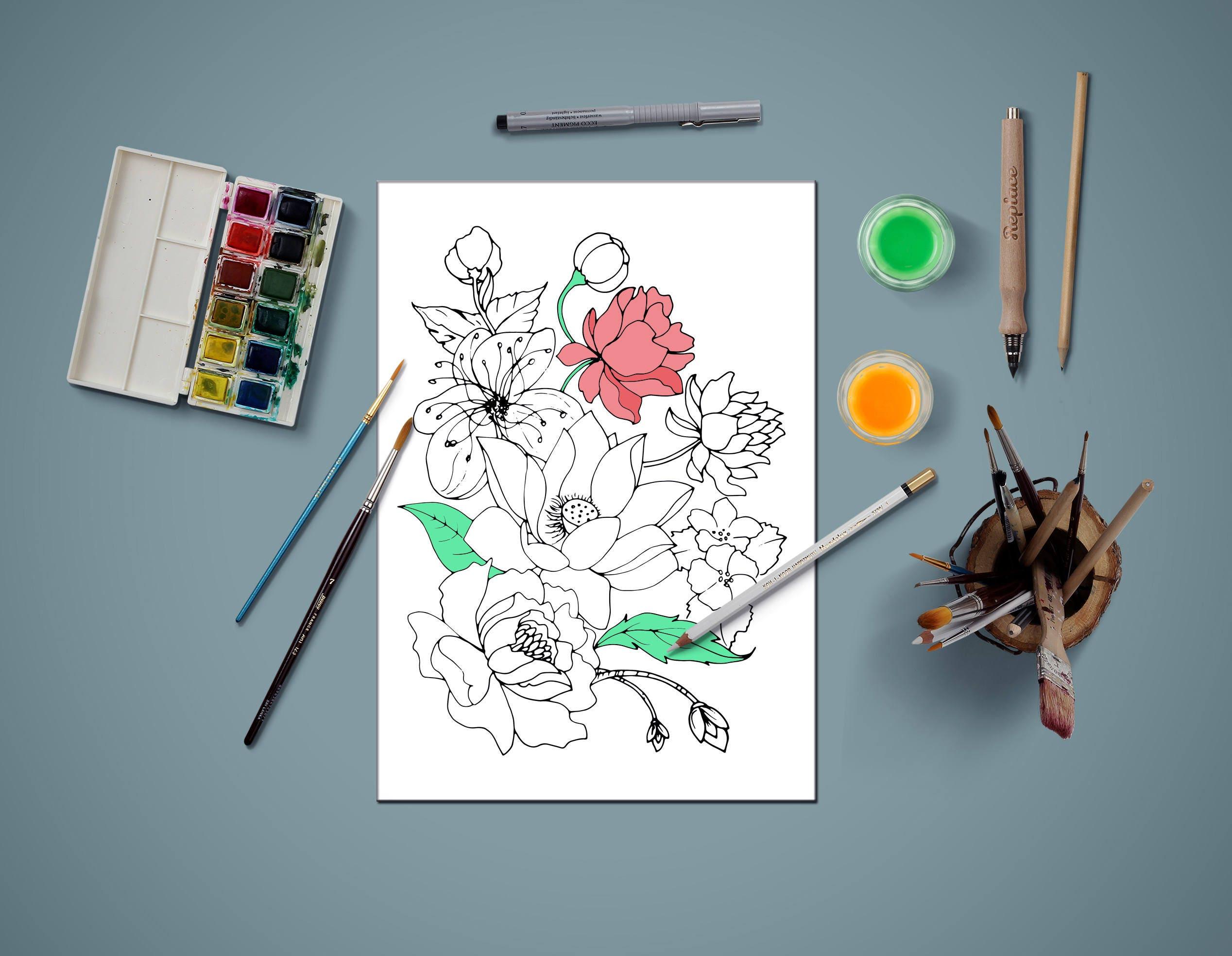 Página para colorear para adultos flores para colorear