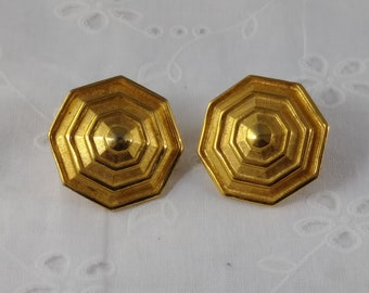Vintage Crown Trifari Clip Ons - Gold Tone Octagon Earrings - 1950's-60's