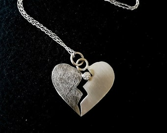 Sterling Silver Heart necklace /Sterling Silver Heart pendant /Broken Heart necklace /Broken Heart pendant /Mended Heart necklace