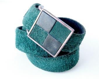Green Suede Belt by Vera Neumann / 70s Vintage Belt / Checkerboard Buckle / Forest Green Suede Belt / Color Block Leather Belt / Size 12