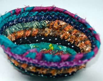 """Bohemian Coiled Fabric Basket, Coiled Fabirc Bowl,  Catch All Basket, Trinket Basket, 2 1/2"""" x 4"""" at Base  Measures  2 1/2"""" Deep"""
