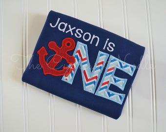 Anchor First Birthday Shirt, Nautical Birthday Shirt, I am ONE, I am Two, Anchor Second Birthday Shirt, Custom Anchor Shirt, Anchor Party