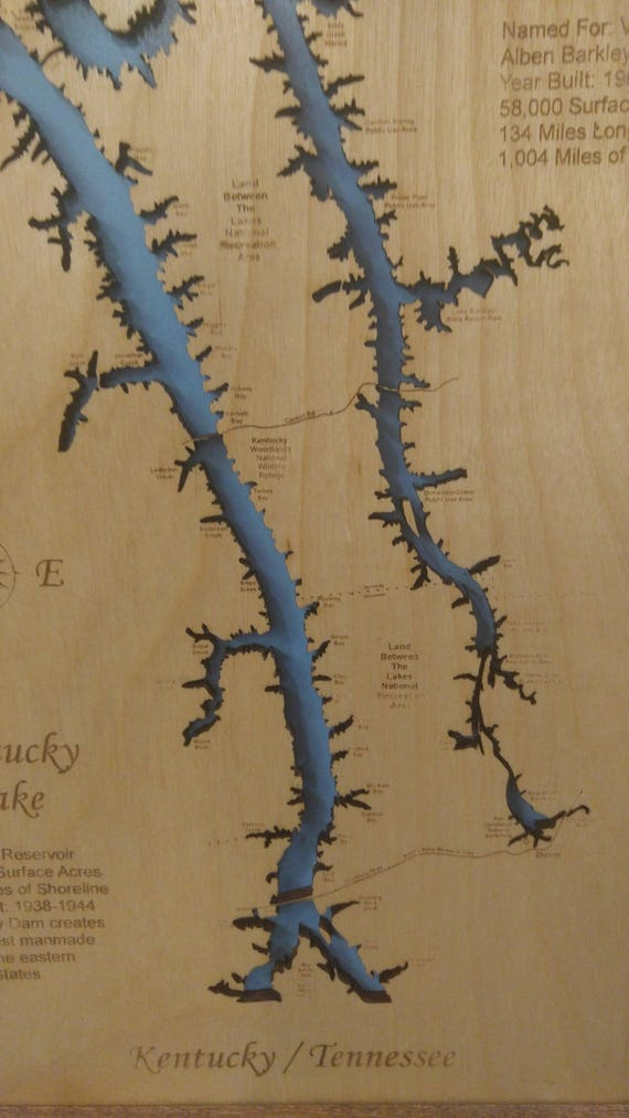 Wood Laser Cut Map of Lake Barkley and Kentucky Lake KY TN