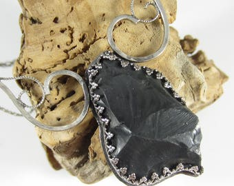 Volcano Sculpted Necklace - Black Obsidian in Sterling Silver