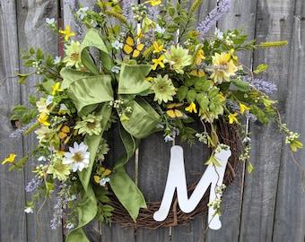 Butterfly Spring Front Door Wreath Spring, Wreath for Spring and Summer, Letter Wreath, Wreath with Letter, Door Wreath