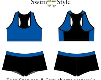 Women s Easy crop top & Gym shorts pdf sewing pattern  Swim Style
