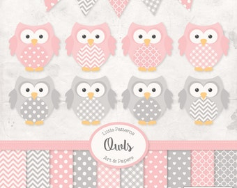 Premium Owl Clipart, Vectors & Digital Papers in Soft Pink with Grey - Baby Pink Owl Clip Art, Owl Vectors, Pattered Owls, Baby Owls